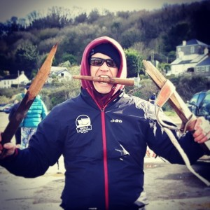 Hayle gig club's captian Rob thinks he's Superman after breaking his stretcher at the Plastic Pig event