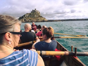 Some of Hayle gig club taking row around St Micheal's mount this evening