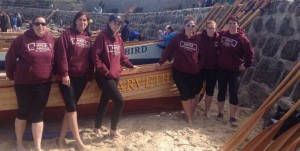 Ladies' A crew at the World gig championships on the Scilly Isles 2016